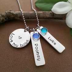 Personalized Necklace For Mother Of Boys | Love My Boys Necklace Hand Stamped With Kids Names