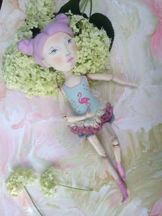 Textile doll in a swimsuit flamingo turquoise pink skirt soft doll handmade gift girl girlfriend artwork artdolls pink purple hair ooak toys by IuliiaDoll on Etsy