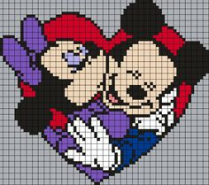 Minnie and Mickey Mouse Perler Bead Pattern by Melissa Pious . Minnie and Mickey Mouse Perler Bead Pattern by Melissa Pious mouse Disney Cross Stitch Patterns, Pony Bead Patterns, Perler Patterns, Loom Patterns, Cross Stitch Designs, Beading Patterns, Quilt Patterns, Beaded Cross Stitch, Cross Stitch Charts