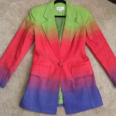 """EMANUEL UNGARO jacket worn once! In like new condition, worn once. Material feels like soft denim, stunning bright colors. Gorgeous fit! Waist: 32"""" Bust: 36"""" Total length: 29.5"""" Emanuel Ungaro Jackets & Coats Blazers"""