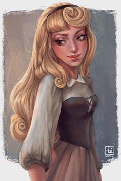 Aurora by Abigail Diaz / serafleur Disney Artwork, Disney Fan Art, Disney Drawings, Art Drawings, Briar Rose, Arte Disney, Disney Magic, Fanart, Disney And Dreamworks