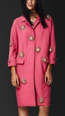 BURBERRY 2014 Gem-Embellished Raw Silk Caban