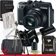 Canon PowerShot G1 X Digital Camera 16GB Package 5 by Canon. $709.86. Package Contents:  1- Canon PowerShot G1 X Digital Camera w/ All Supplied Accessories 1- 16GB SDHC Class 10 Memory Card  1- USB Memory Card Reader  1- Rapid External Ac/Dc Charger Kit   1- Rechargeable Lithium Ion Replacement Battery  1- Weather Resistant Carrying Case w/Strap  1- Pack of LCD Screen Protectors  1- Camera & Lens Cleaning Kit System  1- Mini Flexible Table Top Tripod 1- Memory Card Wallet...