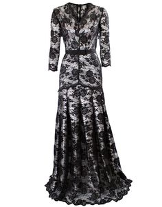 Black lace overlaid silver lining gown style Kate Middleton