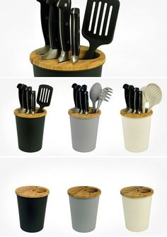 Knives-On-The-Block in #black #design by #Susanne Uerlings for #Zuperzozial #knifeblock and #kitchen utensil holder 100 % #biodegradable made from #bamboo, bamboo-fibre and corn-powder  #white #grey #black