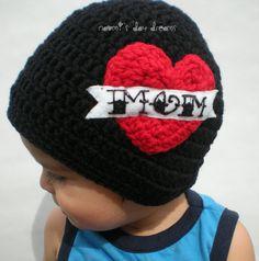 I Love Mom Heart Tattoo Crochet Beanie, Infant, Baby, Toddler, Preschooler, Child, Teen/Adult Sizes