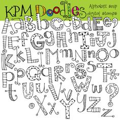 INSTANT DOWNLOAD Alphabet soup digital black line von kpmdoodles
