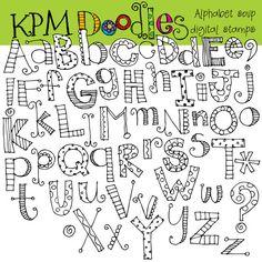 Alphabet soup digital black line stamps by kpmdoodles on Etsy, $3.50