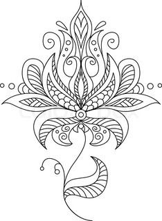 Pretty dainty ornate vintage floral motif in a black and white calligraphic outl. - Pretty dainty ornate vintage floral motif in a black and white calligraphic outline, vector illustr - Bordado Jacobean, Jacobean Embroidery, Embroidery Patterns, Hand Embroidery, Flower Embroidery, Mandala Coloring, Colouring Pages, Coloring Books, Flor Oriental Tattoo