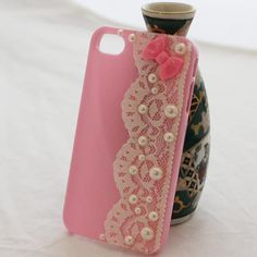 Durable iPhone 4/ 4s case pearl lace decorated