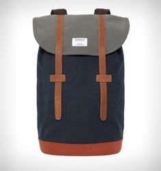 afa97a3fb3ee Sandqvist Stig Backpack (Blue  amp  Grey) Cotton Canvas