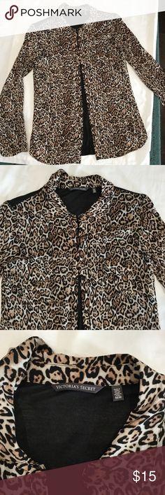 Victoria's Secret long sleeve blouse Victoria's Secret button down leopard print blouse with solid black back Victoria's Secret Tops Button Down Shirts