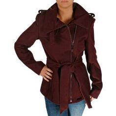 SEAN JOHN Wool Military Trench Zip Up Fashion Womens Jacket Peacoat Coat (Apparel)