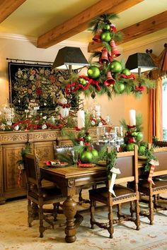 Christmas Decorating ~ Visit blog.styleestate.com Stockings on the chairs could be used so everyone knows where to sit