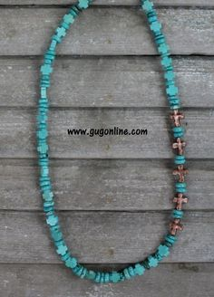 Turquoise Necklace with Copper Side Crosses