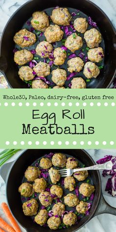 All of the deliciousness of an egg roll, but deconstructed (and minus the deep frying) into an easy peasy stir fry! If you haven't heard of it, totally check it out...or just make these Egg Roll Meatballs. Whole30, Paleo, gluten free, dairy-free #whole30dinner #whole30meatball #veggieloadedmeatball