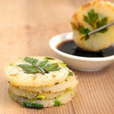 Mini Potato Pancakes with Green Garlic and Chives Recipe Appetizers with potatoes, green garlic, chives, salt, soy sauce, rice vinegar, sugar