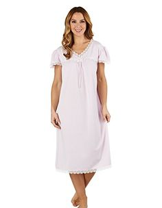 Slenderella ND1115 Womens Jacquard Pink Night Gown Nightdress 1820         AMAZON BEST BUY     Lingerie 5e67e1ae6
