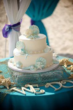 carribean blue beach wedding cake