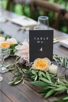 Elyce and Tyler's Whimsical New Hampshire Wedding by Rodeo & Co. Photography | A modern wedding table number with a rose and dahlia table runner.