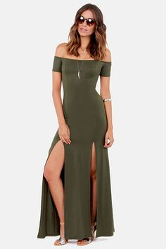 The Long Way Off-the-shoulder Olive Green Maxi Dress