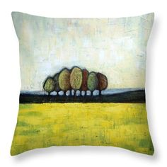 Abstract Landscape Throw Pillow featuring the painting Indian Summer by Vesna Antic