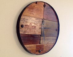 Vineyard Reclaimed Wood Barrel Wall Clock Time Piece -  Wine Art -- MADE TO ORDER by RaccoonWoodworks on Etsy https://www.etsy.com/listing/187436196/vineyard-reclaimed-wood-barrel-wall