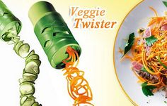 Vegetable Twister - Great for potatoes, carrots, cucumbers, zucchini, radish and Dukan Diet Menu, Fruits And Vegetables, Veggies, Vegetable Pasta, Food Items, Swirls, Things To Come, Yummy Food, Twisters