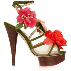 Charlotte Olympia Botanica floral-appliquéd suede sandals ($545) ❤ liked on Polyvore featuring shoes, sandals, army green, clear platform sandals, strappy sandals, strappy platform sandals, wide strap sandals and high heel platform sandals