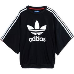 Adidas Originals By Rita Ora Sweatshirt ($87) ❤ liked on Polyvore featuring tops, hoodies, sweatshirts, black, logo top, patterned tops, polyester sweatshirt, short sleeve sweatshirt and short sleeve tops