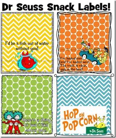 Dr Seuss Printable Labels by mudpiestudio - Great for Teacher Appreciation