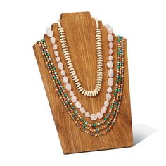 "14"" H x 10"" W x 0.75"" D Get your jewelry out of its hiding place and put it on display with this Wooden Necklace Stand. The honey tones to its natural wood grain will strikingly accent your jewelry, f"