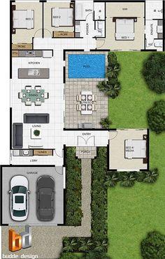 MEU DEEEUS, MINHA CASA! ❤ House Layout Plans, Dream House Plans, Modern House Plans, Small House Plans, House Layouts, House Floor Plans, U Shaped House Plans, Courtyard House Plans, 3d Architectural Rendering
