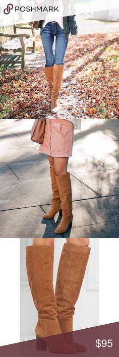 """Golden Caramel Slouch Boot Sam Edelman Block heel slouchy suede boot. Tan Velour Suede Leather.  Shaft measures approximately 19.25"""" from arch Heel measures approximately 3"""" Boot opening measures approximately 15.75"""" around Sam Edelman Shoes Over the Knee Boots"""