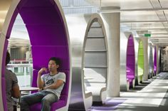 Breathtaking, Creative And Colorful BBC North Office : Cool Colorful Curve Pods Design In BBC North Office Open Atrium