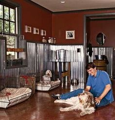 (Love having a room like this for the animals. It took me a few minutes but I noticed the little window seat for the small cage. love it! And I'm loving the walls. That rich color with the shine and industrial look of the metal. This would be awesome in a kitchen. I'm thinking rustic exposed beams on the ceiling....**sigh** carn wood maybe....oh the possibilities)