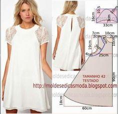 Faça o molde deste belo vestido com aplicação de renda com as coordenadas que encontra na imagem em baixo. A ilustração do molde não tem valor de...