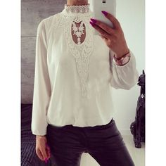Stand-Up Collar Crochet Blouse