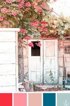 I think I would LOVE to live in this dreamy little cottage. Waking up to the delicious pops of reds and pinks and getting comfy with subtle blues in this color palette always makes for a sweet day dreams.