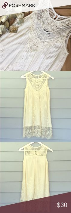 "Vintage Lace Tunic Gorgeous sleeveless lace tunic in cream with keyhole detail on the back. Size S. Measures approx. 32"" from shoulder to bottom of lace trim. Fabric: nylon, spandex. Item is new, direct from designer without tags! Tags: beach poolside coverup spring summer party event office work vacation festival cruise tropical wedding travel Boutique Tops Tunics"