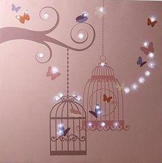 Birdcage light up canvas Baby Girl Nursery Decor, Nursery Room, Baby Room, Nursery Ideas, Girl Room, Girls Bedroom, Childs Bedroom, Hailey Rose, Birdcage Light