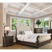Brigette Iii Rustic Beige Sleigh Bed By Foa Queen Upholstered