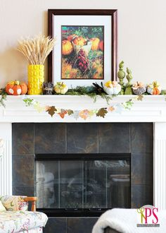 Nature-Inspired Fall Mantel (Some great DIY fall ideas!)