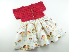 Zomer baby overgooier, gehaakte top in rood, katoenen rok in vrolijk motief. Uniek retro jurkje voor een meisje van 3 maanden. by BarbaraEtsyShop on Etsy