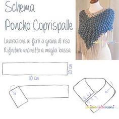 Knitting: the Knitted Poncho Shrug. Knitting: the Knitted Poncho Shrug. Explanations and Scheme, USA / UK / French / Spanish Pattern / Tutorial how to make a Fall Knitting Patterns, Crochet Poncho Patterns, Crochet Shawls And Wraps, Knitted Poncho, Loom Knitting, Crochet Stitches, Sewing Patterns, Crochet Cape, Crochet Scarves