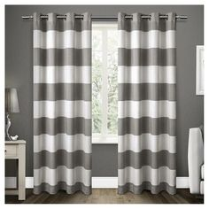 Set of 2 / Pair Santa Monica Cabana Stripe Linen Grommet Top Window Curtain Panels Exclusive Home : Target