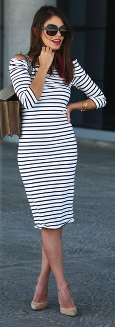Jessie Chanes + sophisticated in stripes + simplicity of this midi-dress, + nude heels and neck-tie + retro feel + Perfect for a summer day.   Dress: Buleyvard, Heels: Mas34, Scarf- Vintage.