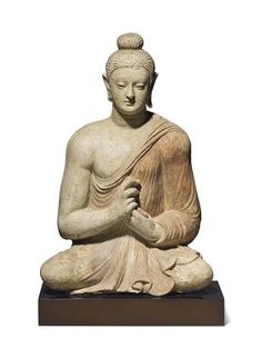 A polychromed stucco figure of Gautama Buddha, Gandhara, 3rd/4th century