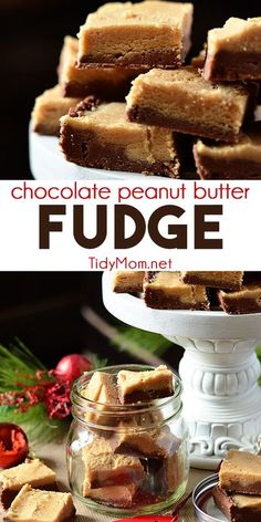 Grandma's Chocolate Peanut Butter Fudge is creamy, smooth and delicious. It's very easy to adapt to your preferences, you could easily add nuts or change the flavor of chips you use. Print the full recipe for Grandma's Fudge at TidyMom.net #fudge #peanut