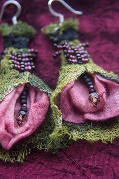 **2***///          vis           ***Fabric Flower Bohemian Earrings by QueenofCuffs on Etsy, $35.00